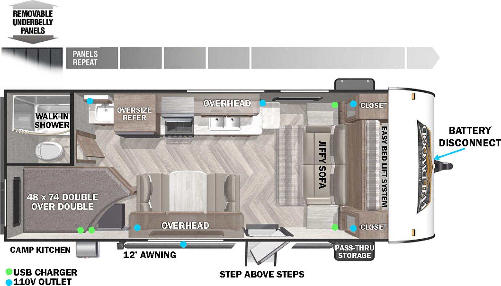 View Floor Plan for 2022 FOREST RIVER WILDWOOD X-LITE 19DBXL