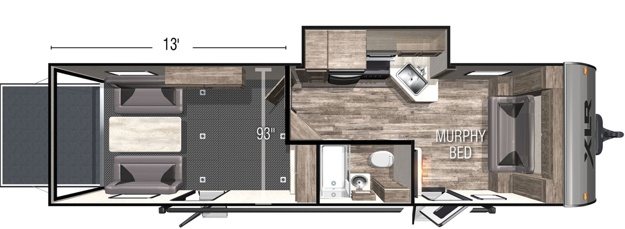 View Floor Plan for 2022 FOREST RIVER XLR BOOST 29LRLE