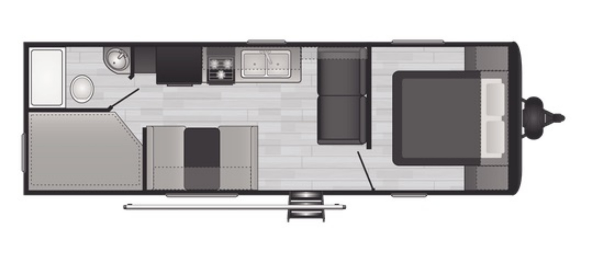 View Floor Plan for 2022 KEYSTONE HIDEOUT 262BH