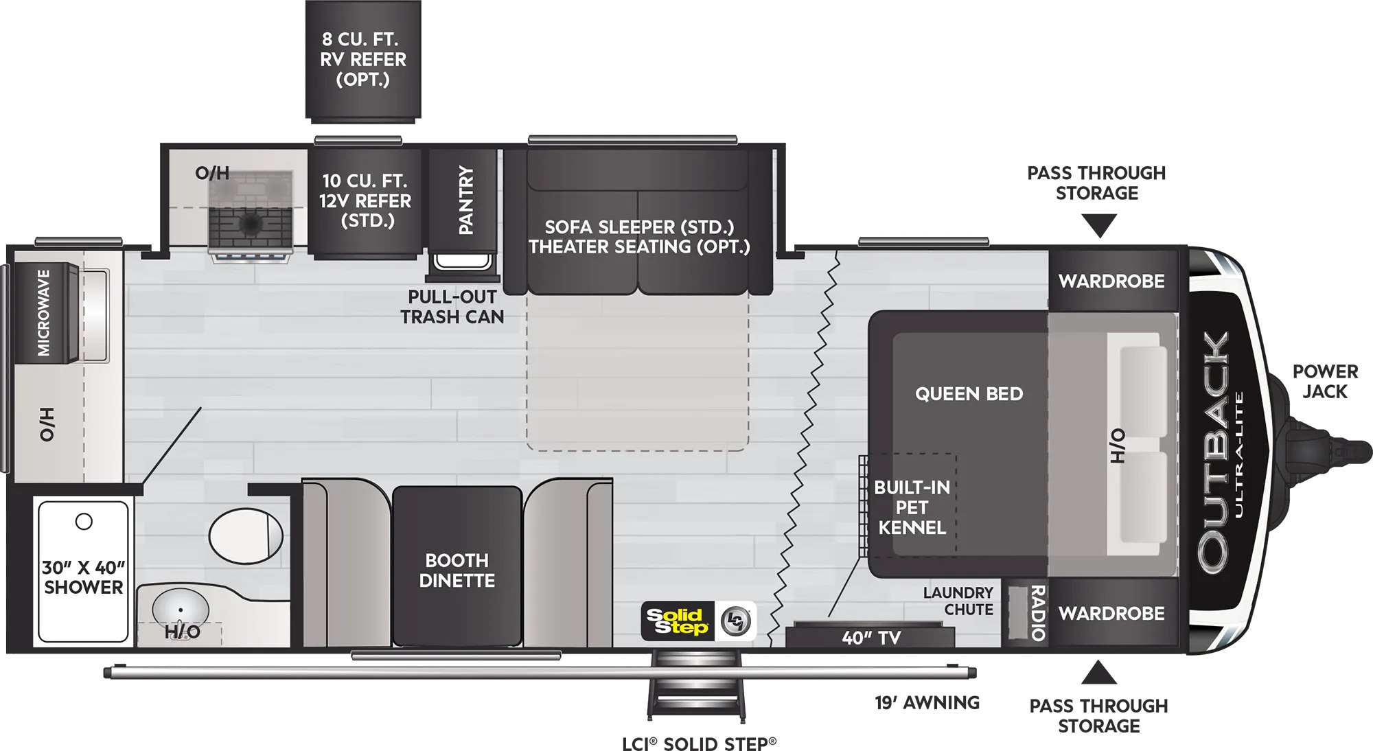 View Floor Plan for 2022 KEYSTONE OUTBACK ULTRA-LITE 221UMD