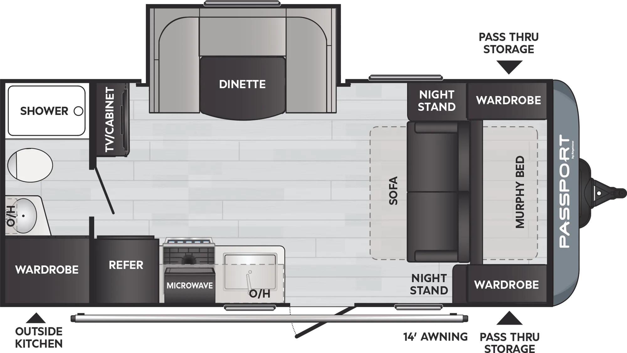 View Floor Plan for 2022 KEYSTONE PASSPORT 189RB