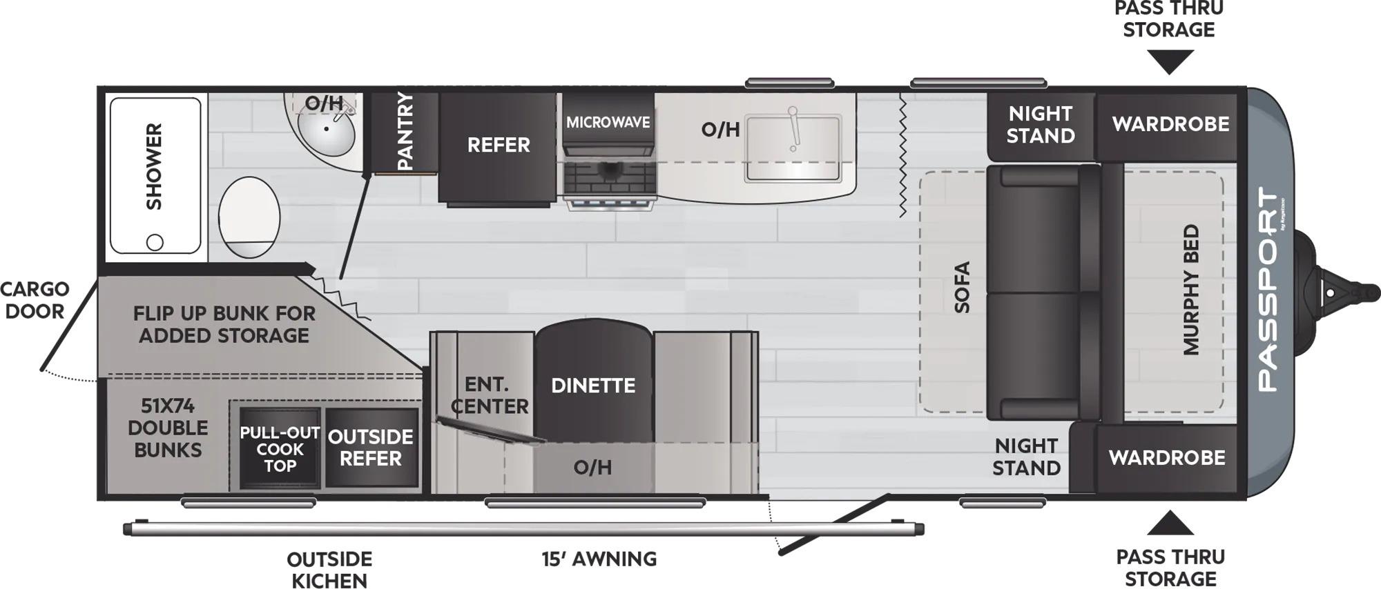 View Floor Plan for 2022 KEYSTONE PASSPORT 219BH