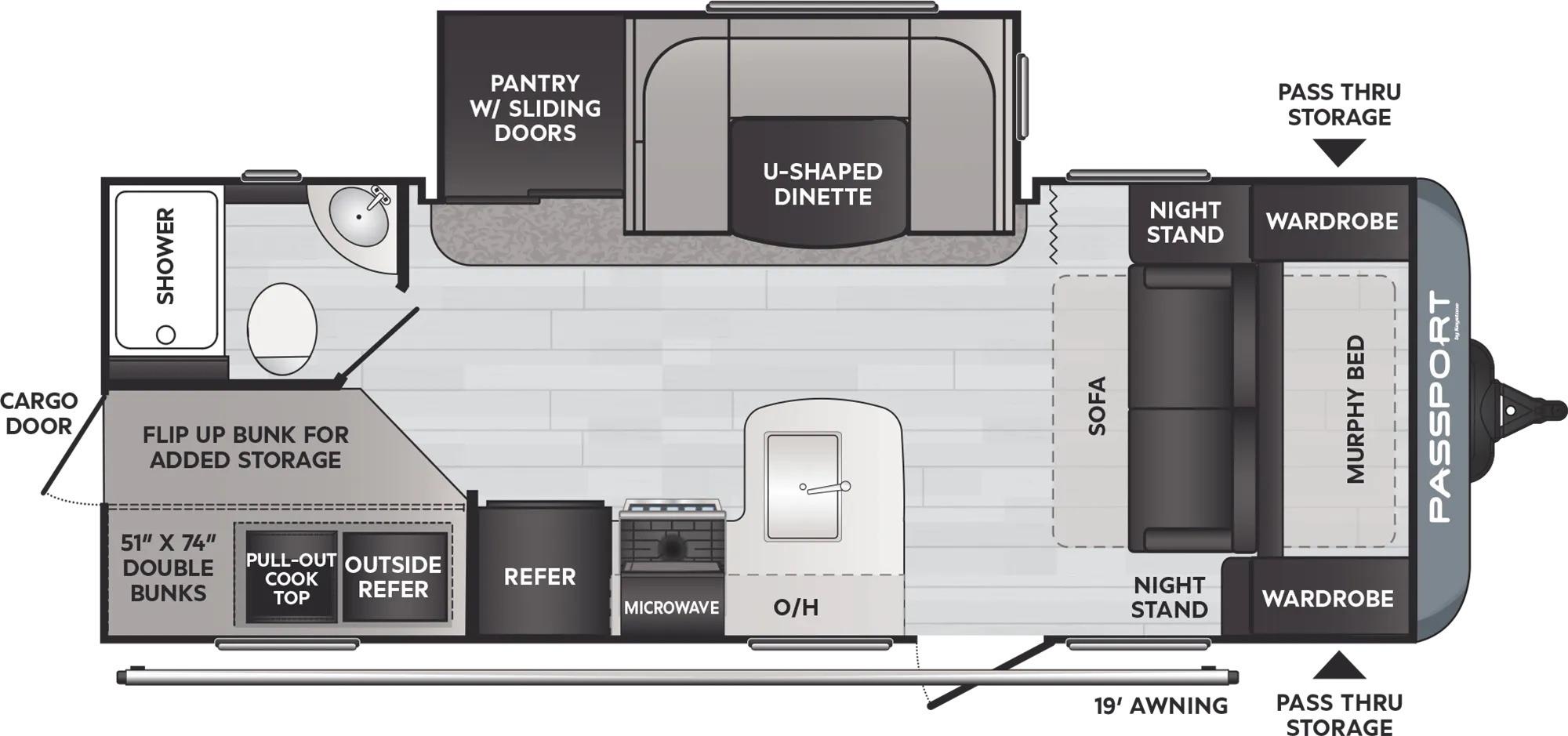View Floor Plan for 2022 KEYSTONE PASSPORT 221BHWE