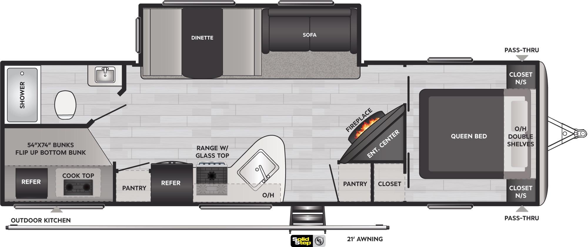 View Floor Plan for 2022 KEYSTONE SPRINGDALE 295BH