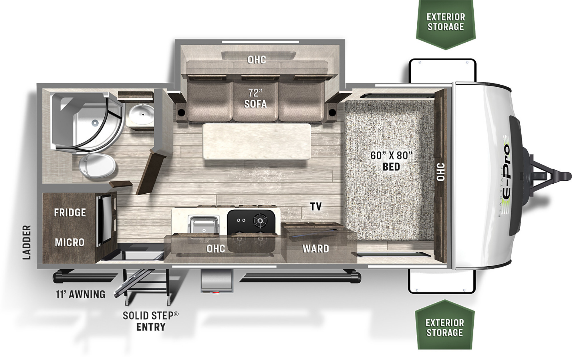 View Floor Plan for 2022 FOREST RIVER FLAGSTAFF E-PRO 19FBS