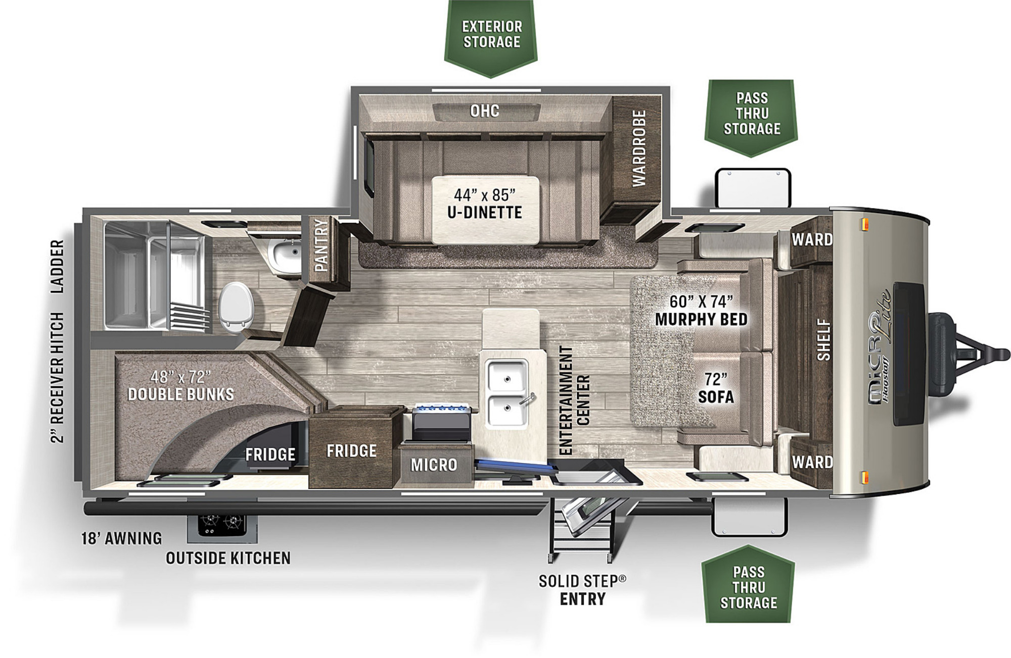 View Floor Plan for 2022 FOREST RIVER FLAGSTAFF MICRO LITE 25BRDS