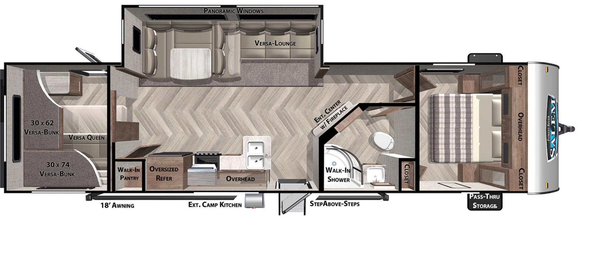 View Floor Plan for 2022 FOREST RIVER SALEM 29VBUD