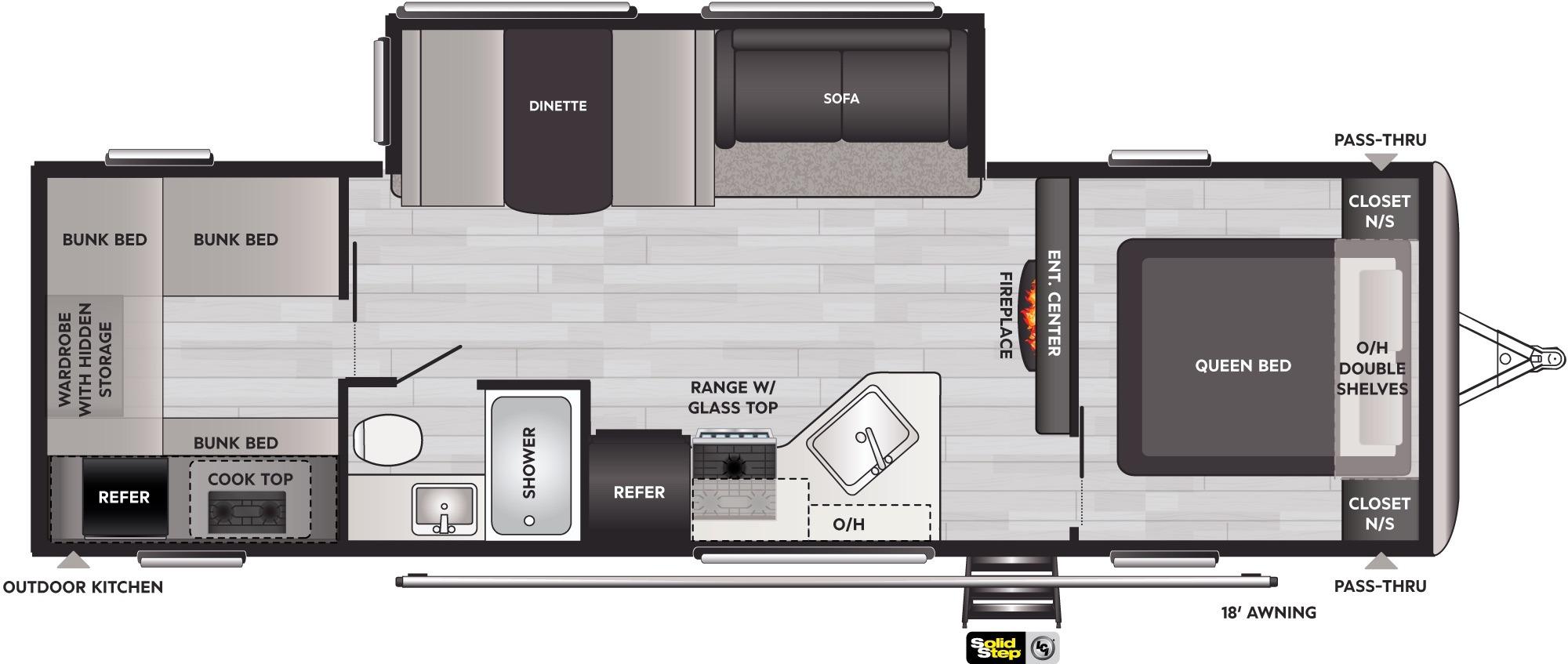 View Floor Plan for 2022 KEYSTONE SPRINGDALE 298BH