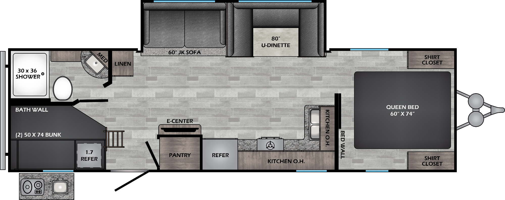 View Floor Plan for 2022 CROSSROADS ZINGER 280BH
