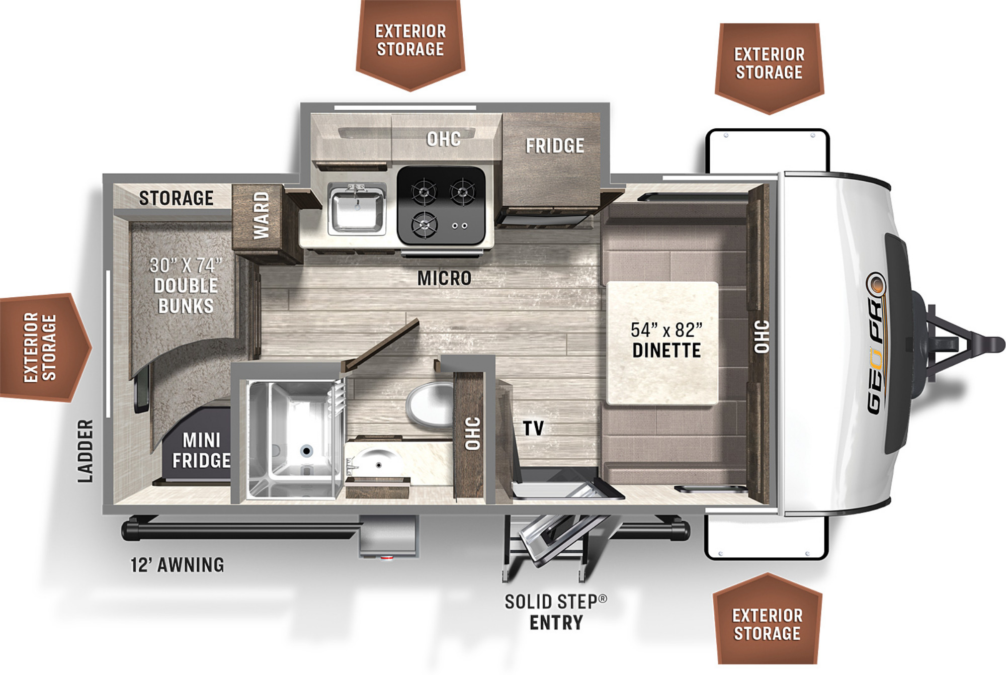 View Floor Plan for 2022 FOREST RIVER ROCKWOOD GEO-PRO 16BH