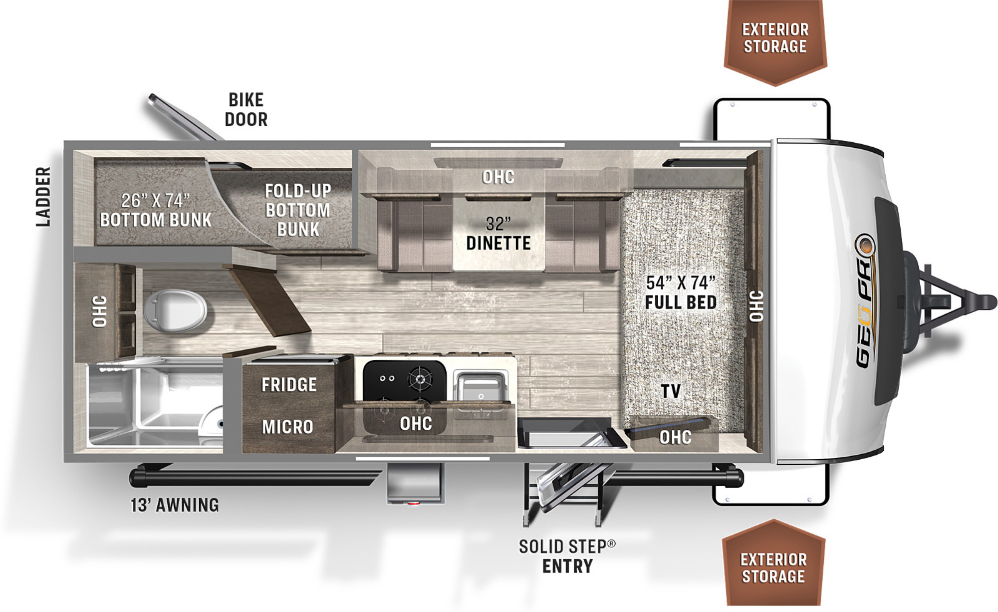 View Floor Plan for 2022 FOREST RIVER ROCKWOOD GEO-PRO 19BH