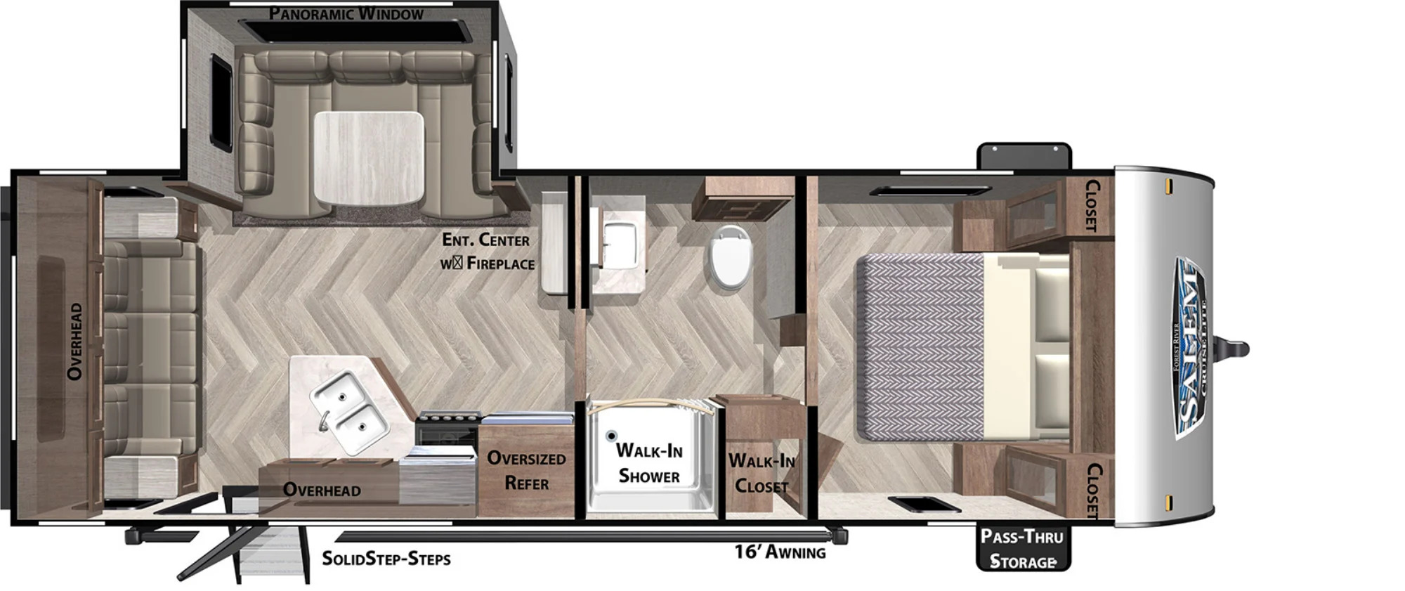 View Floor Plan for 2022 FOREST RIVER SALEM CRUISE LITE 24RLXL