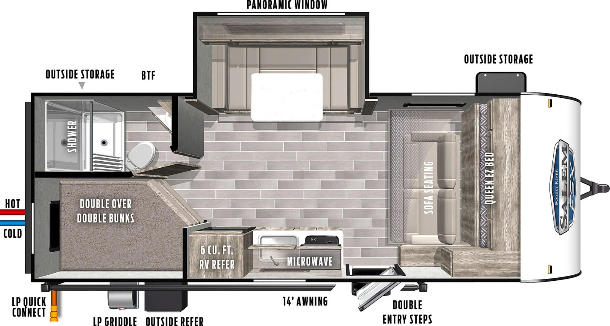 View Floor Plan for 2022 FOREST RIVER SALEM FSX 178BHSKX
