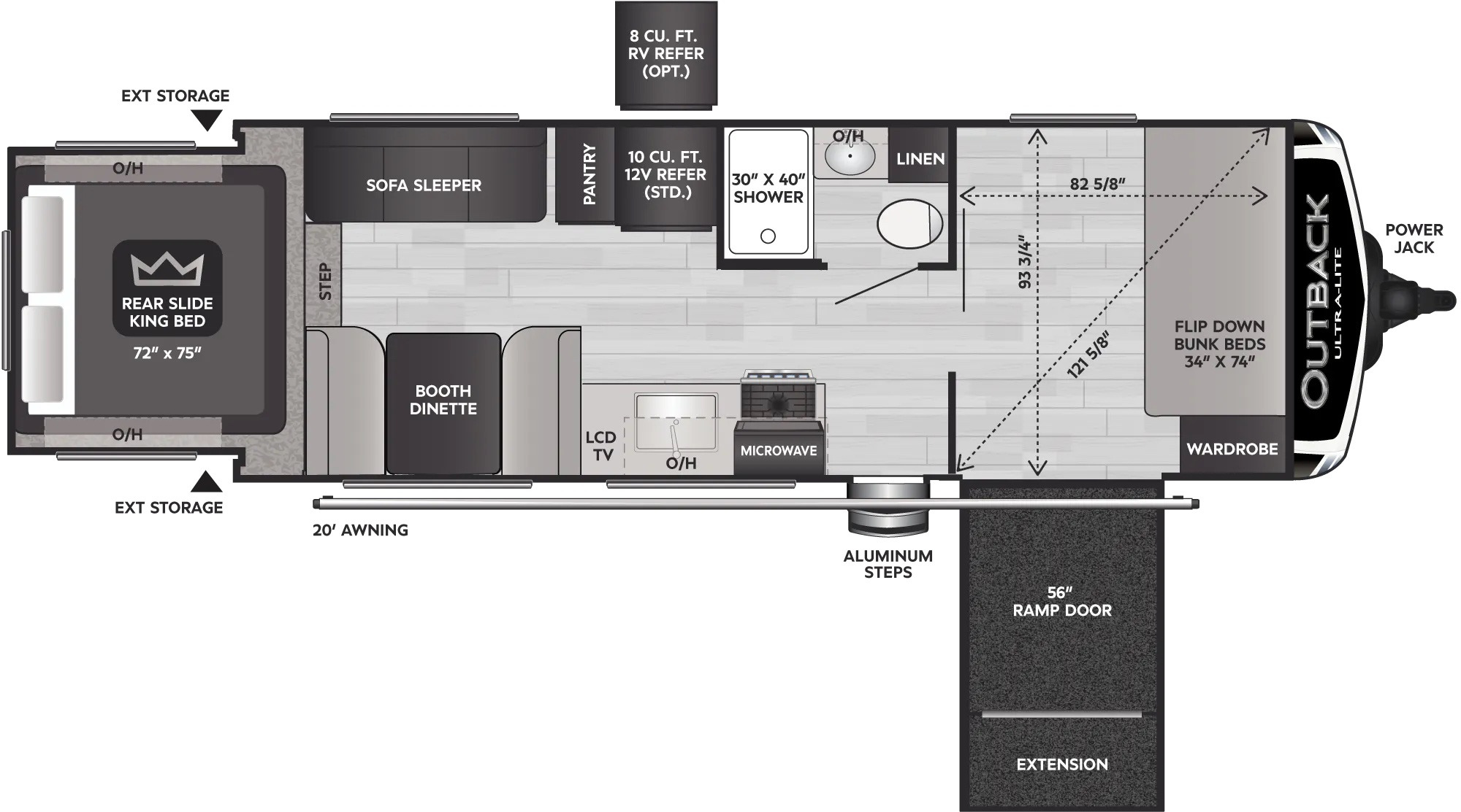 View Floor Plan for 2022 KEYSTONE OUTBACK ULTRA-LITE 240URS