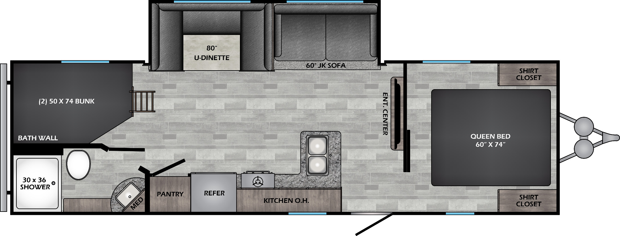 View Floor Plan for 2022 CROSSROADS ZINGER 270BH