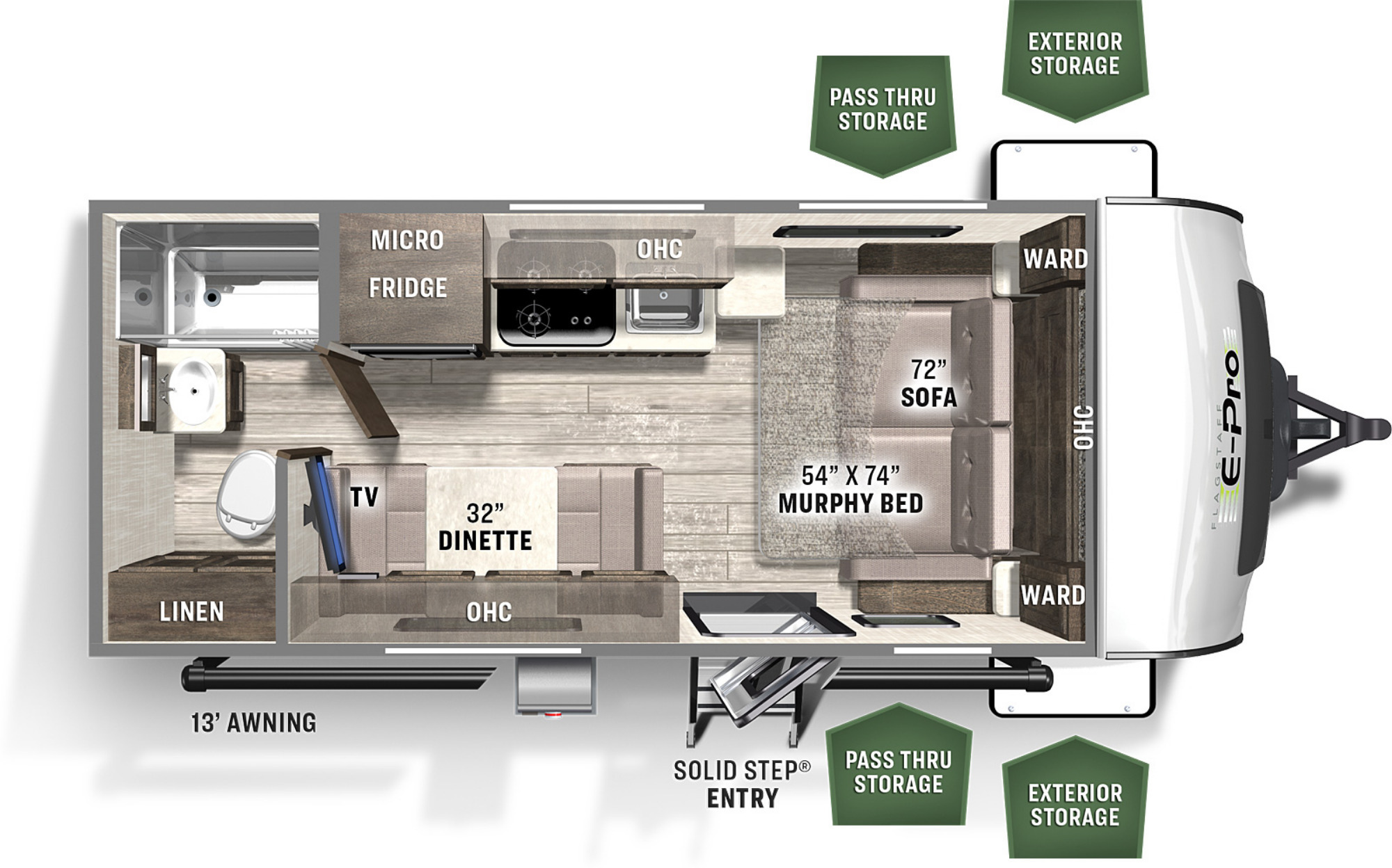 View Floor Plan for 2022 FOREST RIVER FLAGSTAFF E-PRO 19FD