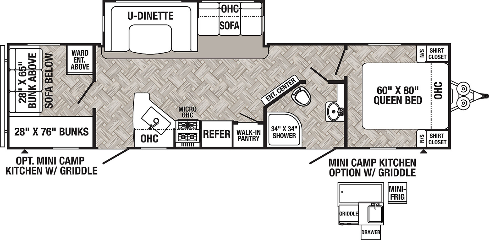 View Floor Plan for 2022 FOREST RIVER PUMA 28BHSS