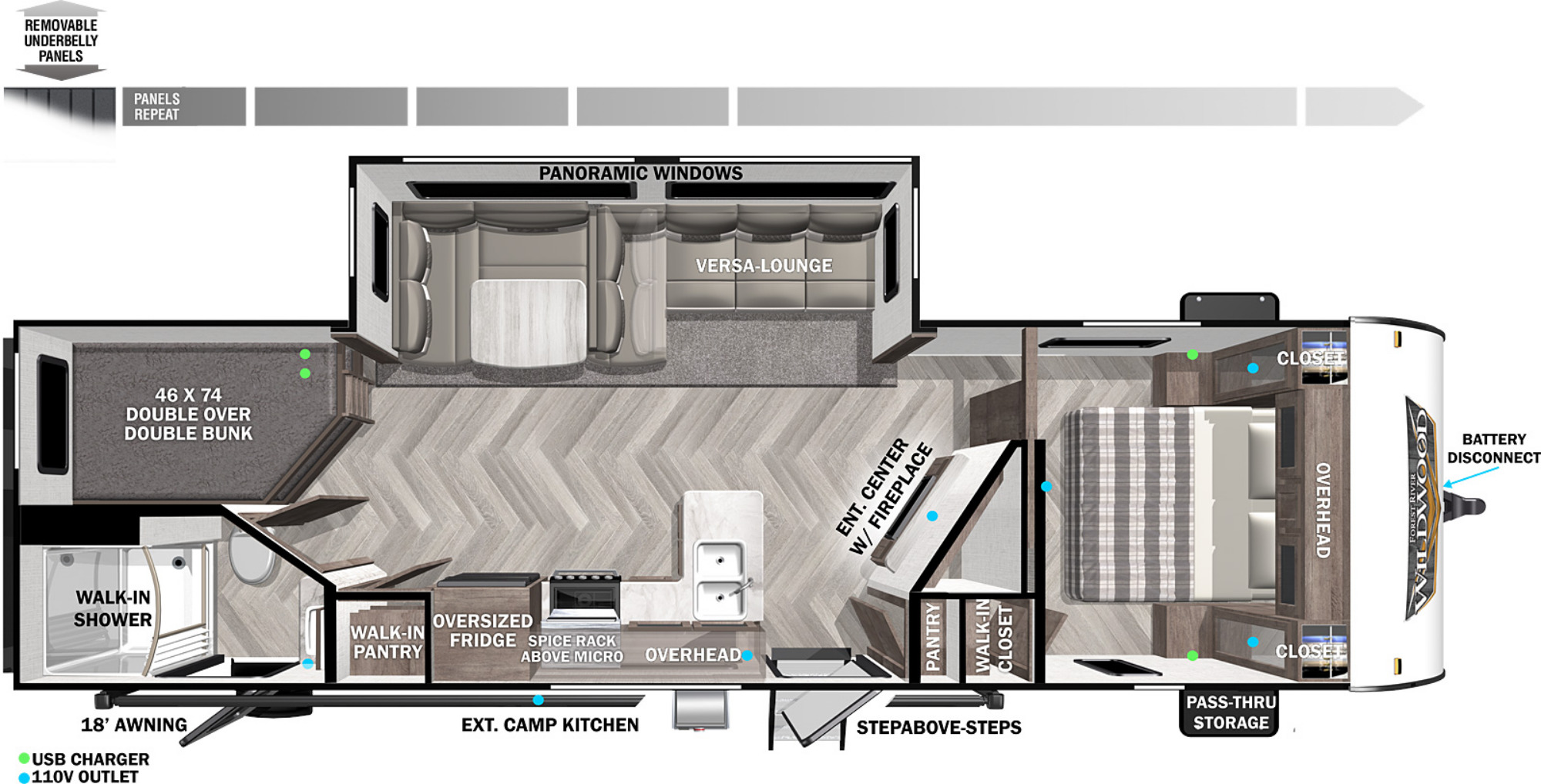 View Floor Plan for 2022 FOREST RIVER WILDWOOD 26DBUD