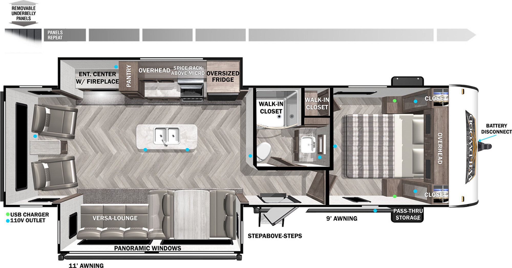 View Floor Plan for 2022 FOREST RIVER WILDWOOD 27RE