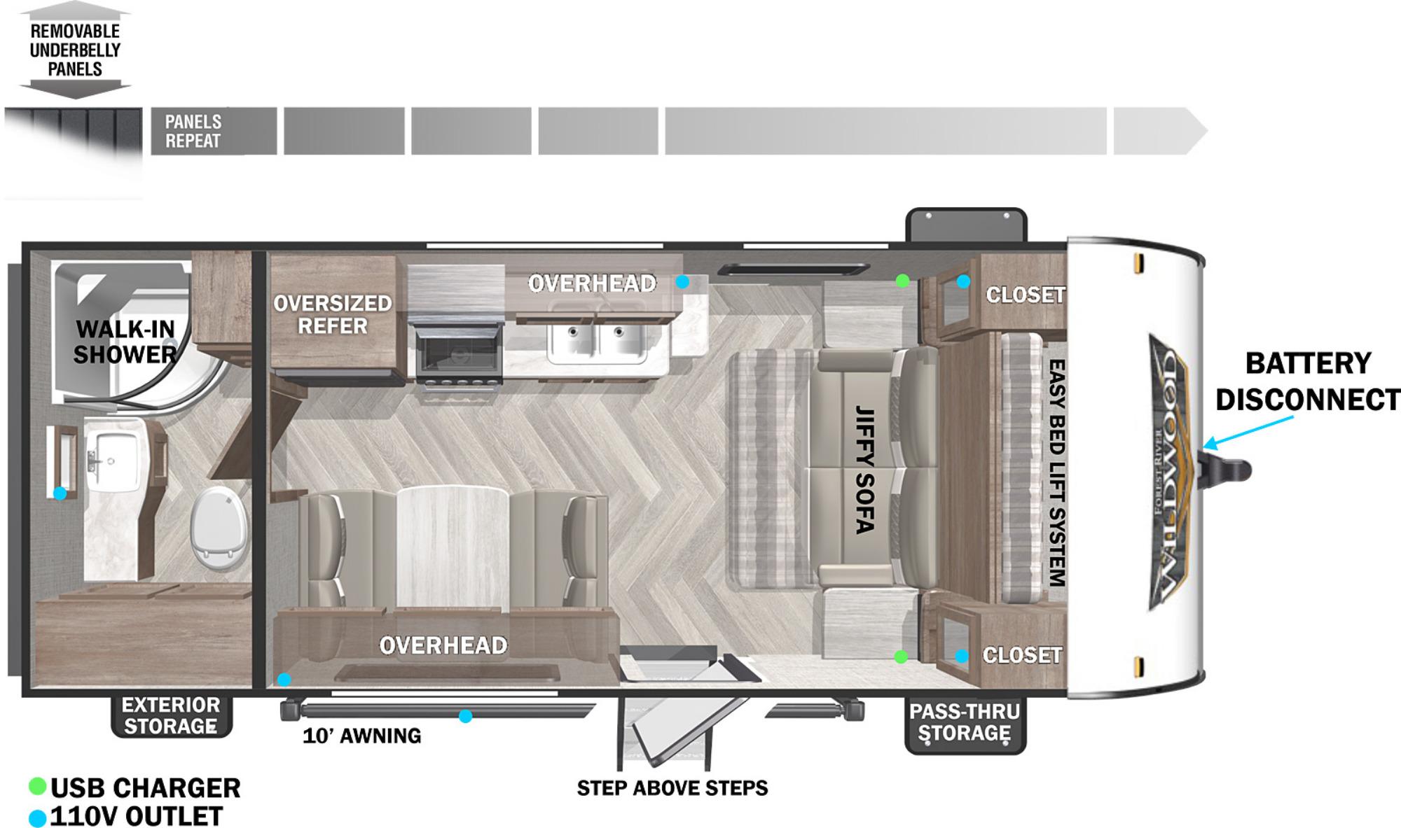 View Floor Plan for 2022 FOREST RIVER WILDWOOD X-LITE 171RBXL
