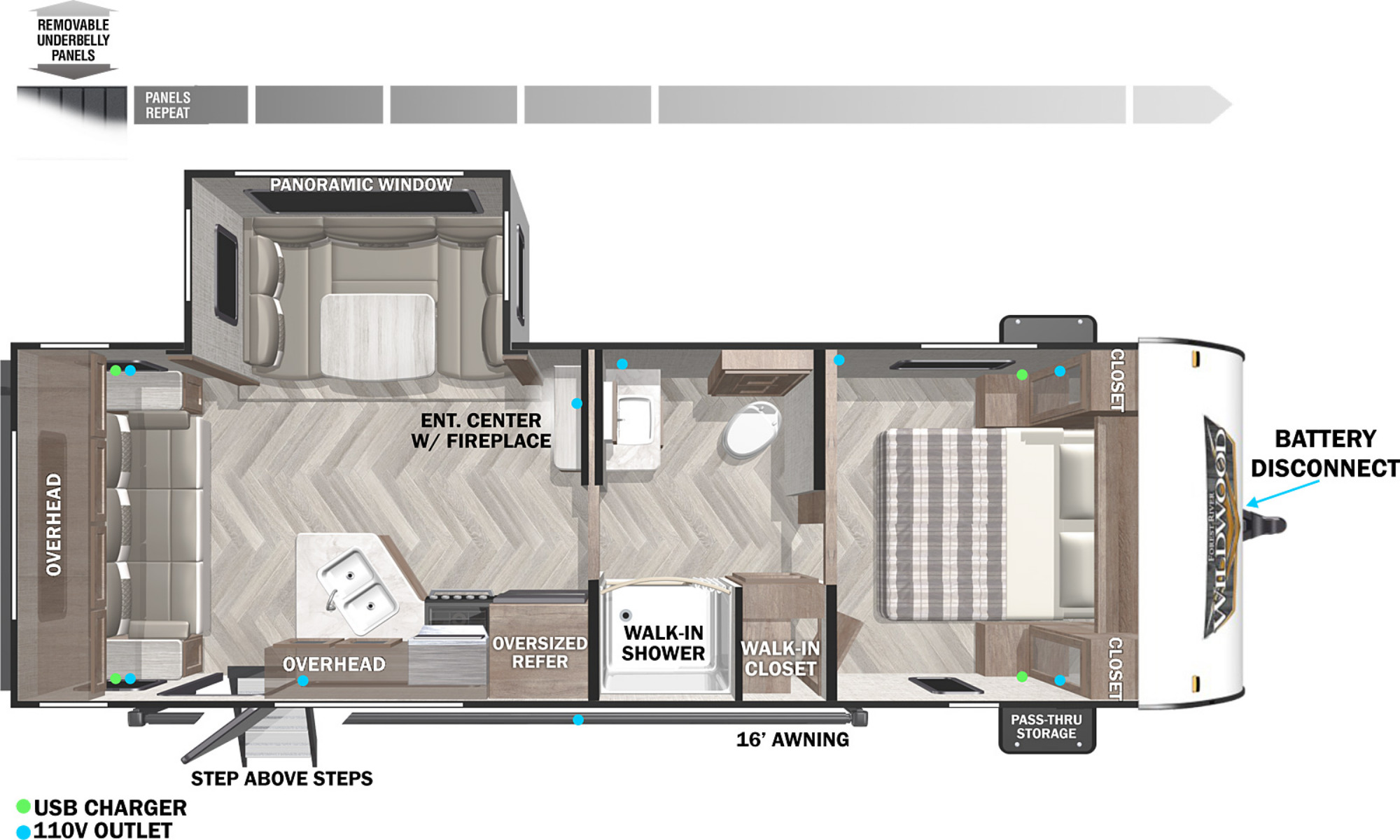 View Floor Plan for 2022 FOREST RIVER WILDWOOD X-LITE 24RLXL