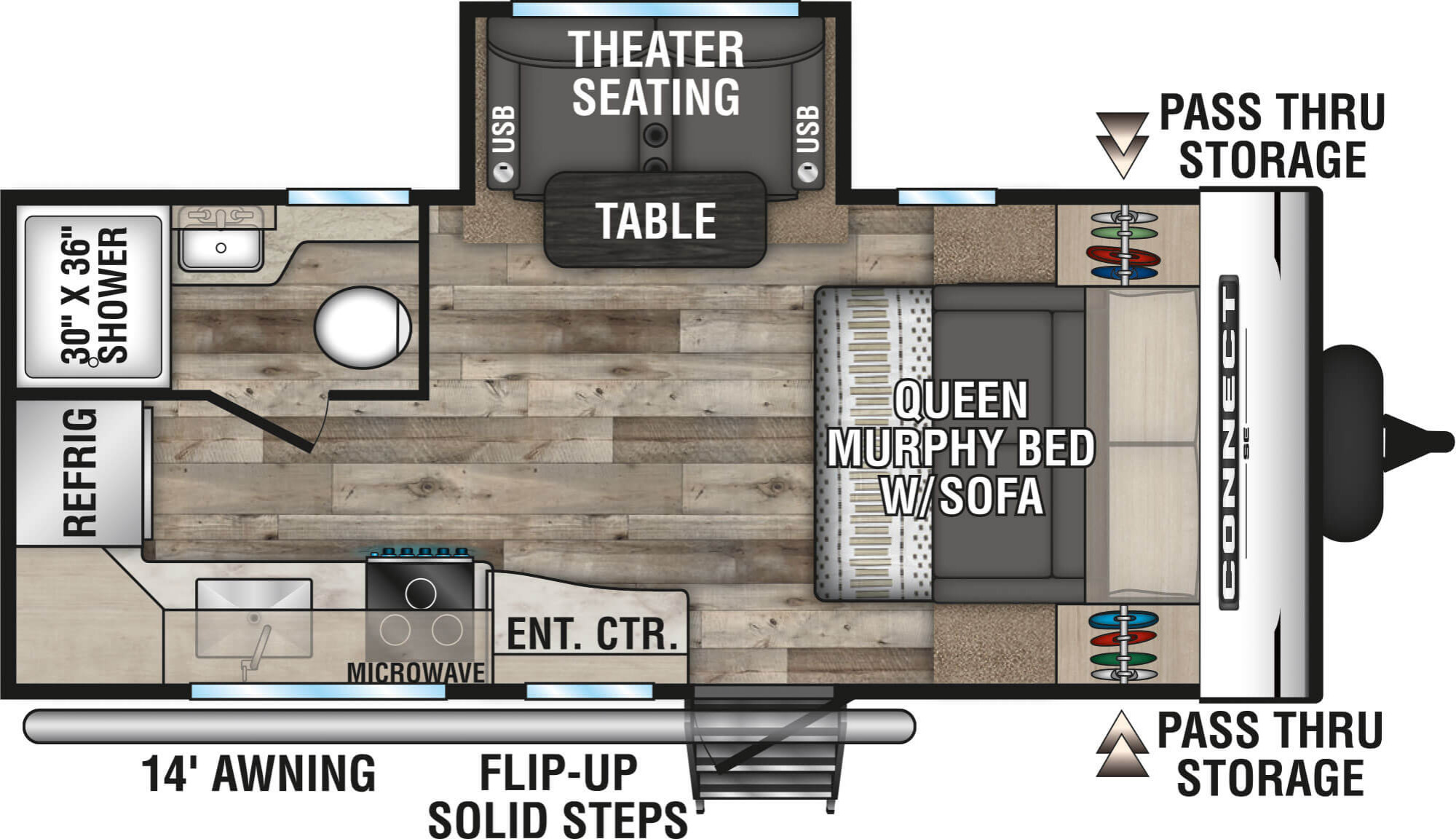 View Floor Plan for 2021 K-Z RV CONNECT SE 191MBSE