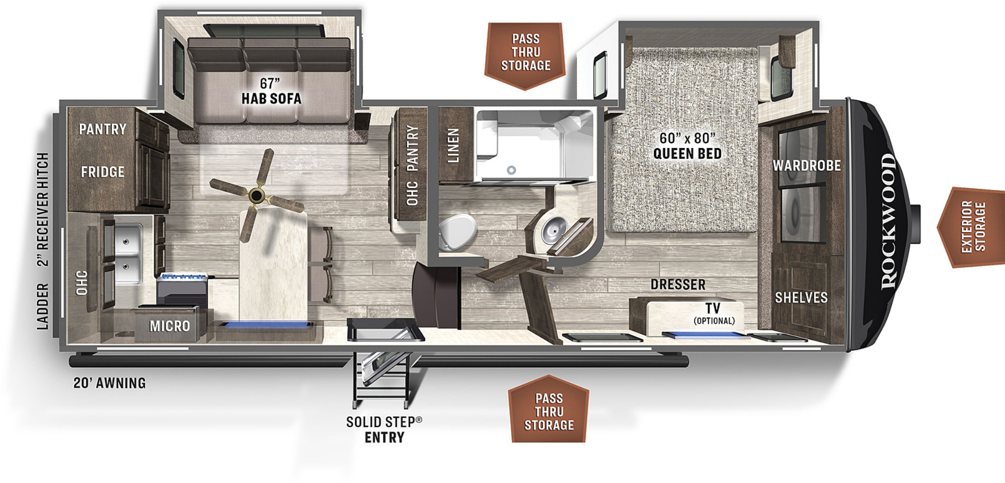 View Floor Plan for 2021 FOREST RIVER ROCKWOOD ULTRA LITE 2442BS