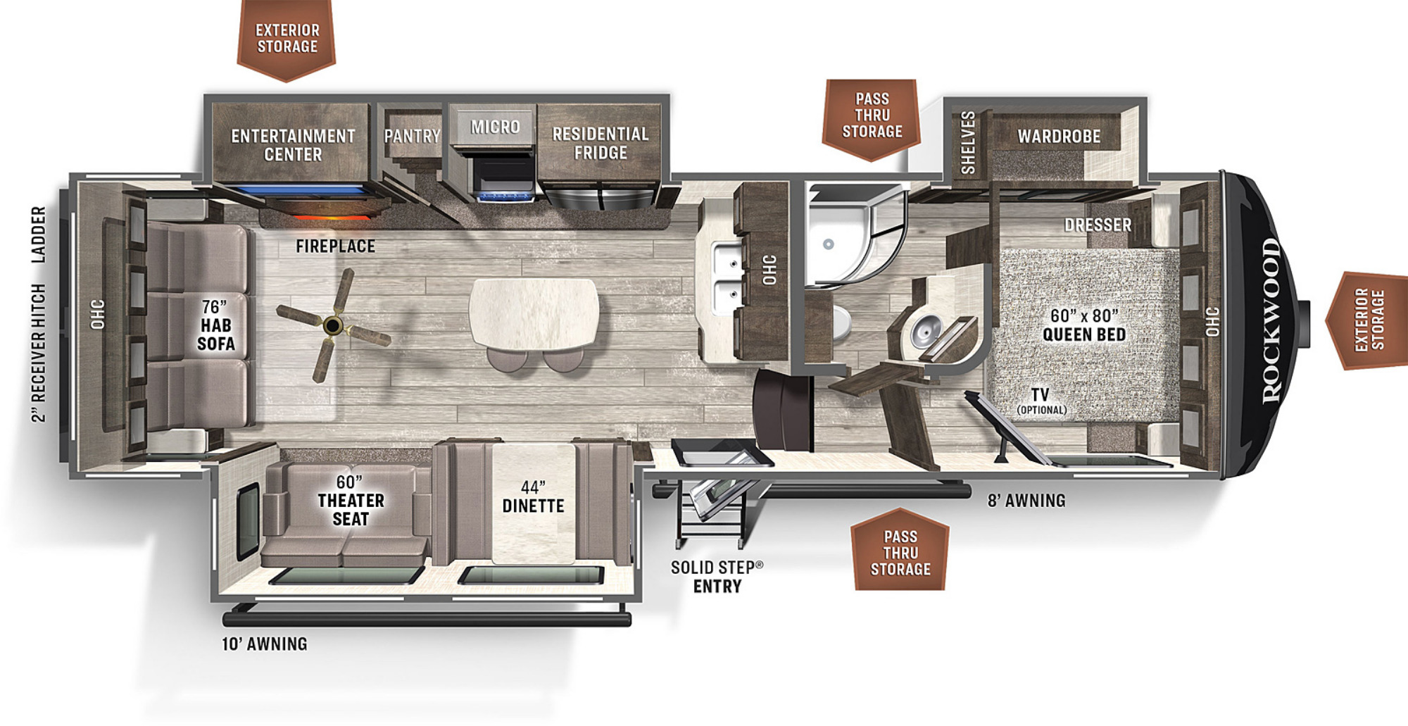 View Floor Plan for 2021 FOREST RIVER ROCKWOOD ULTRA LITE 2883WS