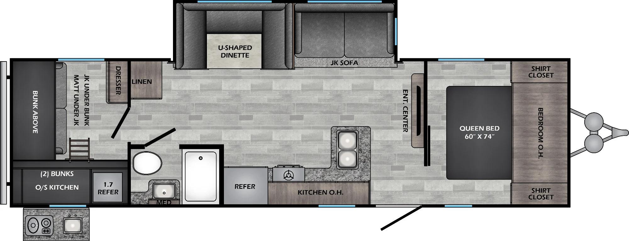 View Floor Plan for 2022 CROSSROADS ZINGER 290KB