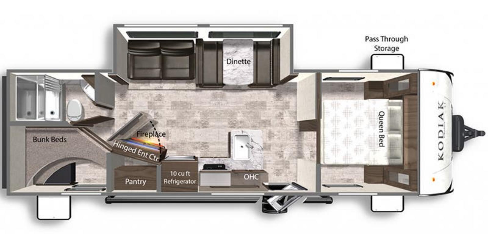 View Floor Plan for 2021 DUTCHMEN KODIAK 27SBH