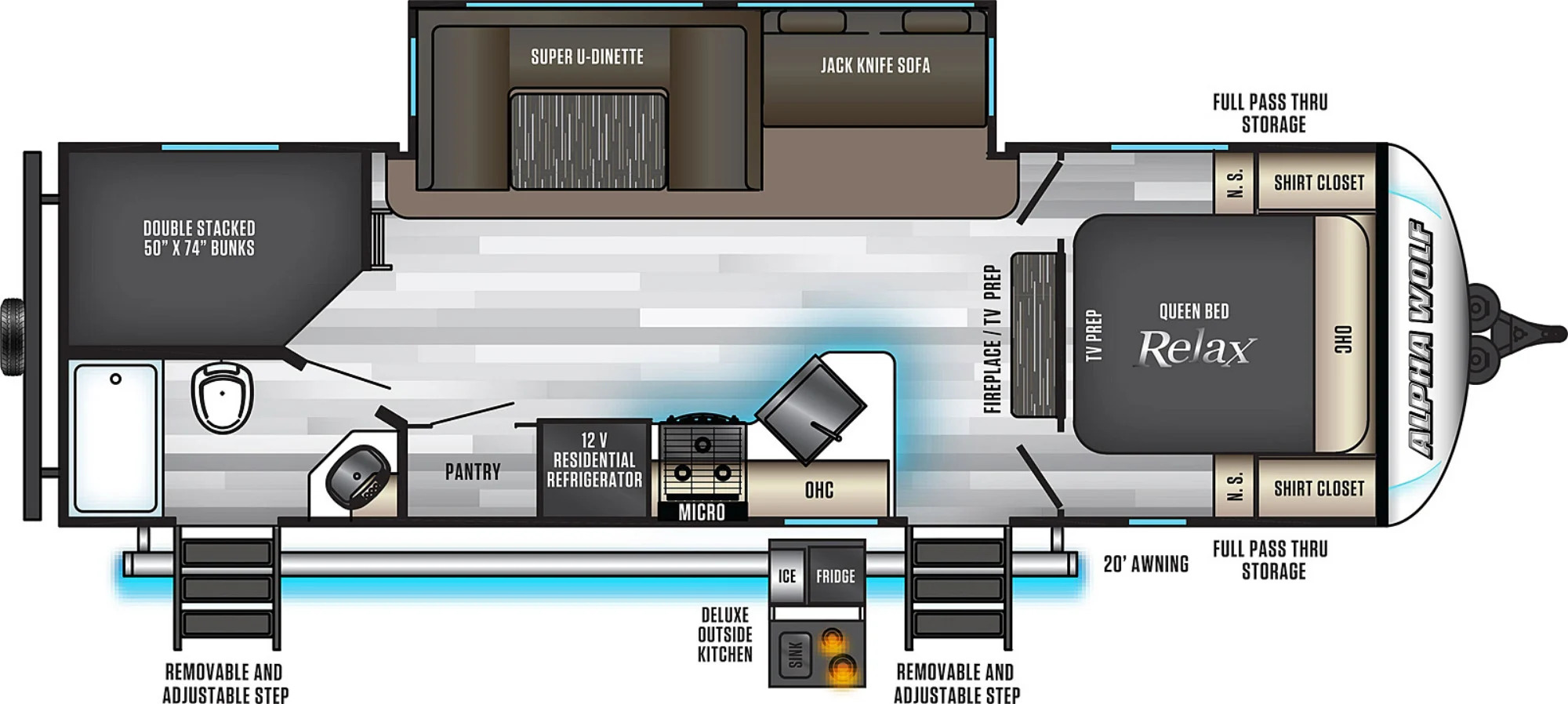 View Floor Plan for 2022 FOREST RIVER ALPHA WOLF 26DBH-L