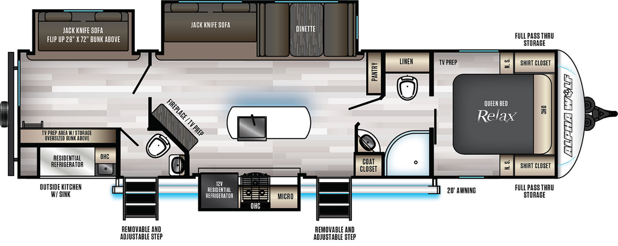 View Floor Plan for 2022 FOREST RIVER ALPHA WOLF 33BH-L