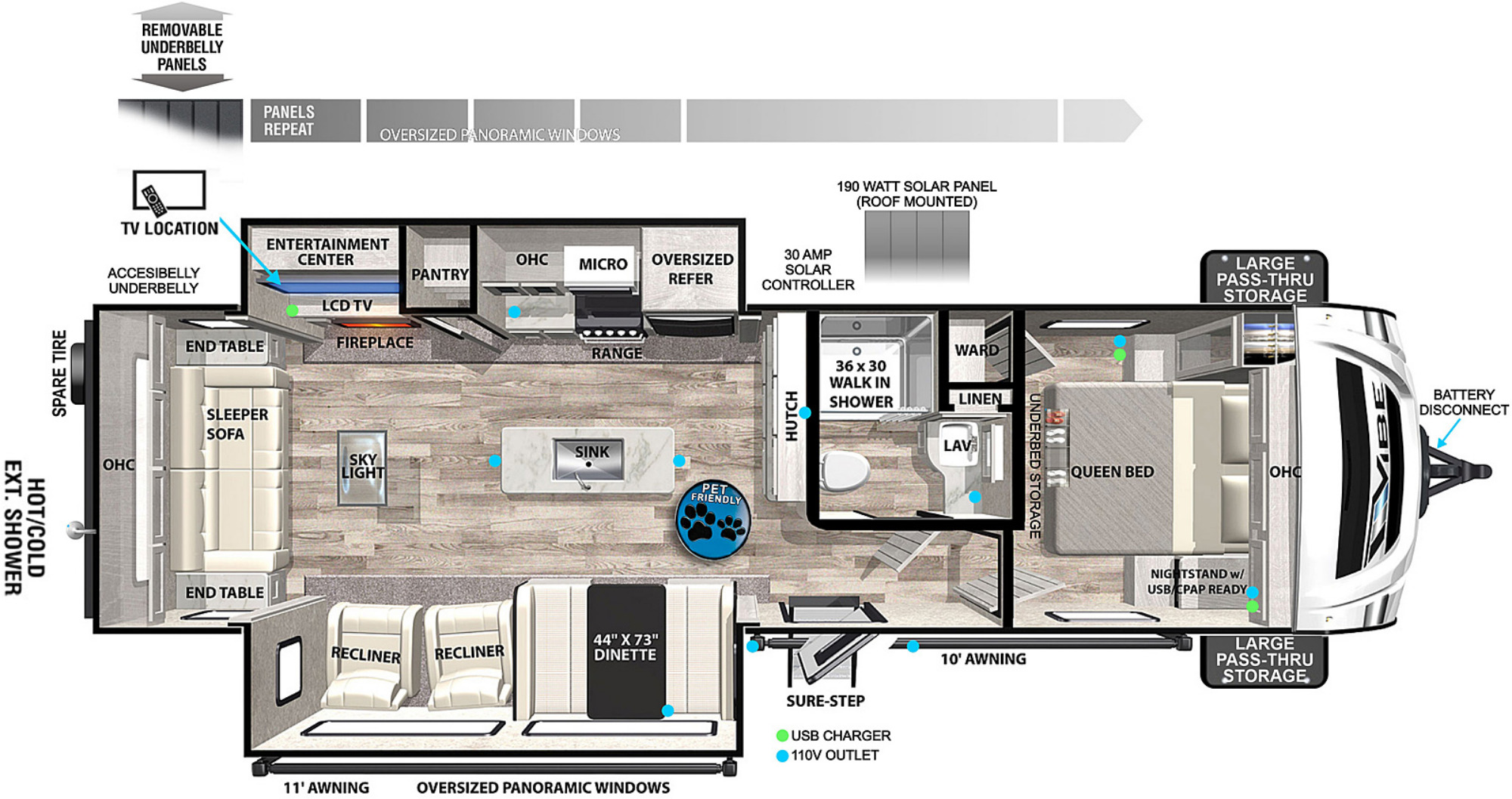 View Floor Plan for 2022 FOREST RIVER VIBE 28RL