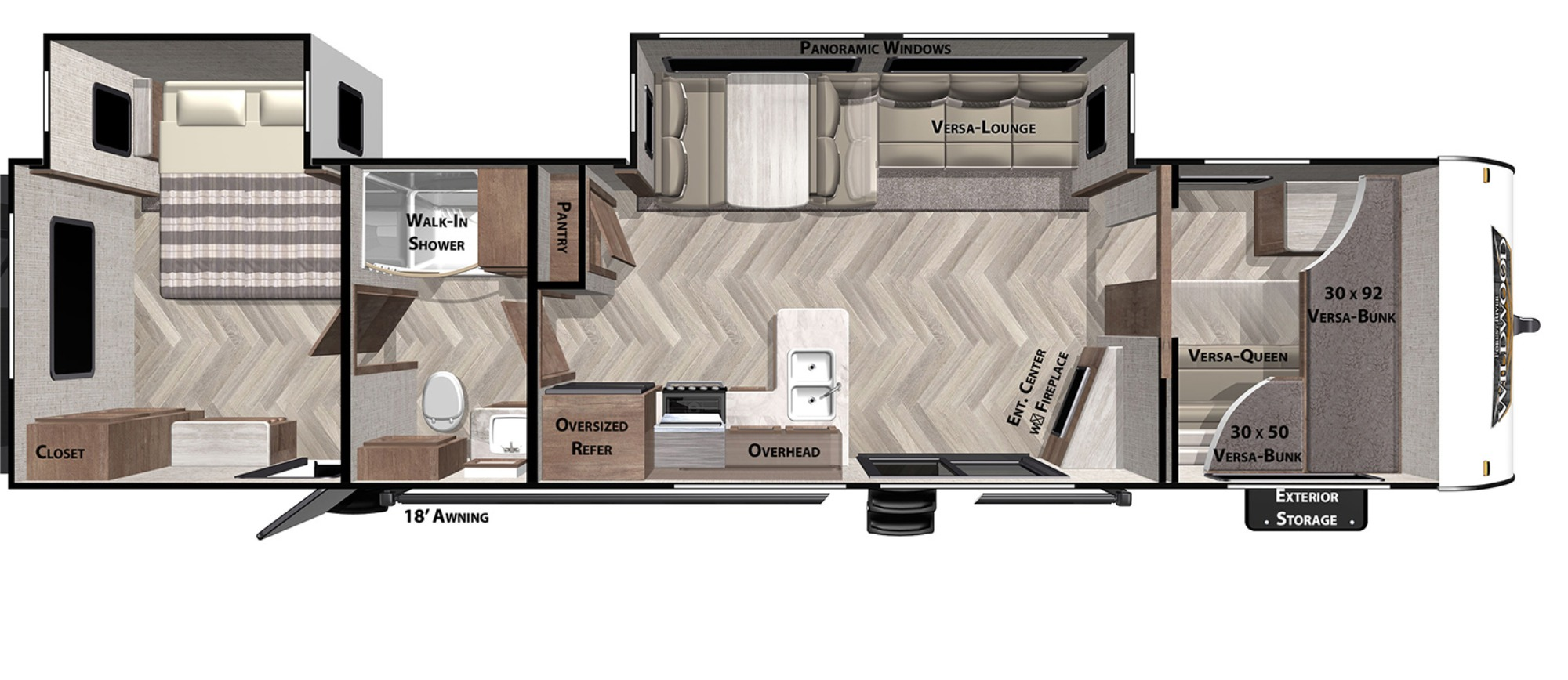 View Floor Plan for 2021 FOREST RIVER WILDWOOD 36VBDS