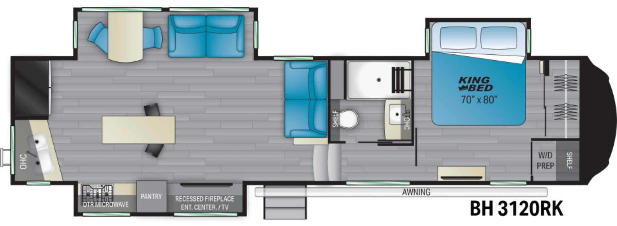 View Floor Plan for 2021 HEARTLAND BIGHORN 3120RK