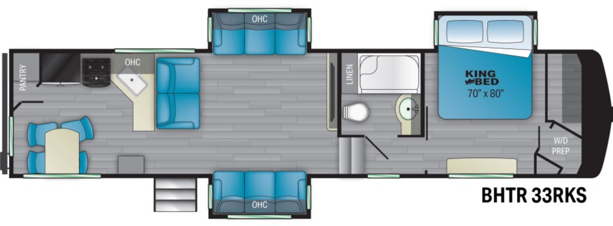 View Floor Plan for 2021 HEARTLAND BIGHORN TRAVELER 33RK