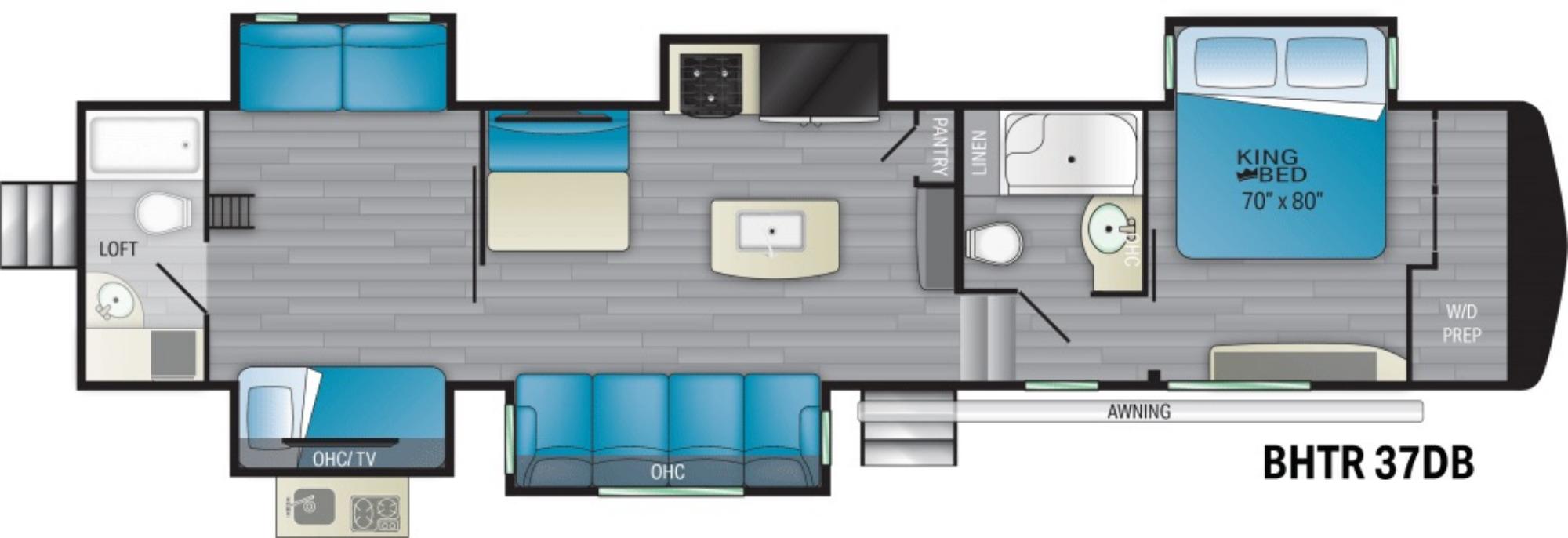 View Floor Plan for 2021 HEARTLAND BIGHORN TRAVELER 37DB