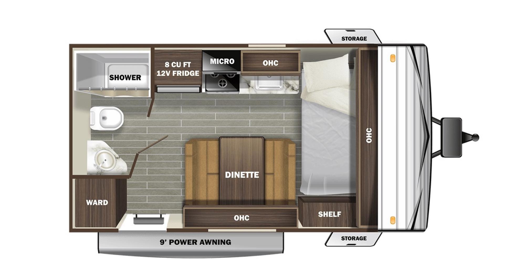 View Floor Plan for 2021 STARCRAFT AUTUMN RIDGE 172FB