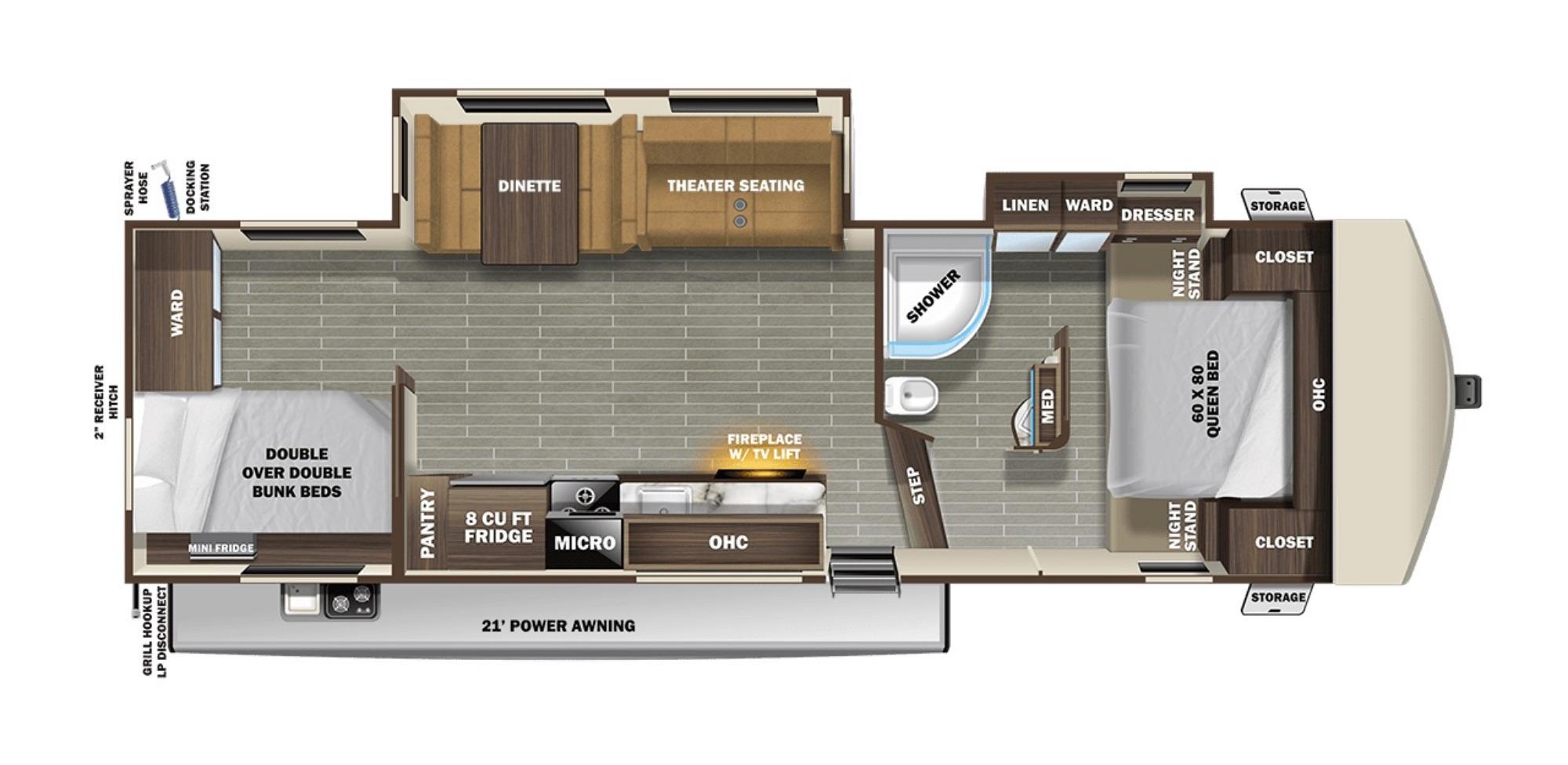 View Floor Plan for 2021 STARCRAFT TELLURIDE 297BHS