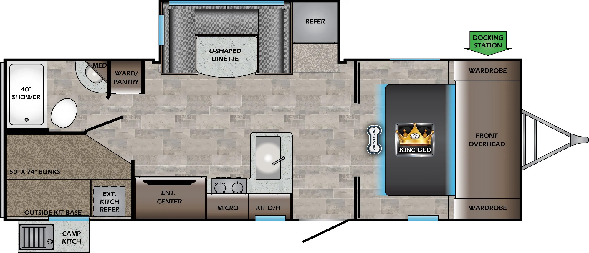 View Floor Plan for 2022 CROSSROADS SUNSET TRAIL 242BH