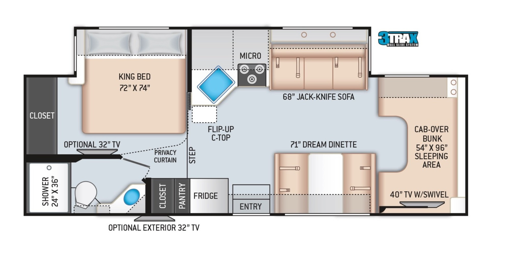 View Floor Plan for 2022 THOR CHATEAU 27R