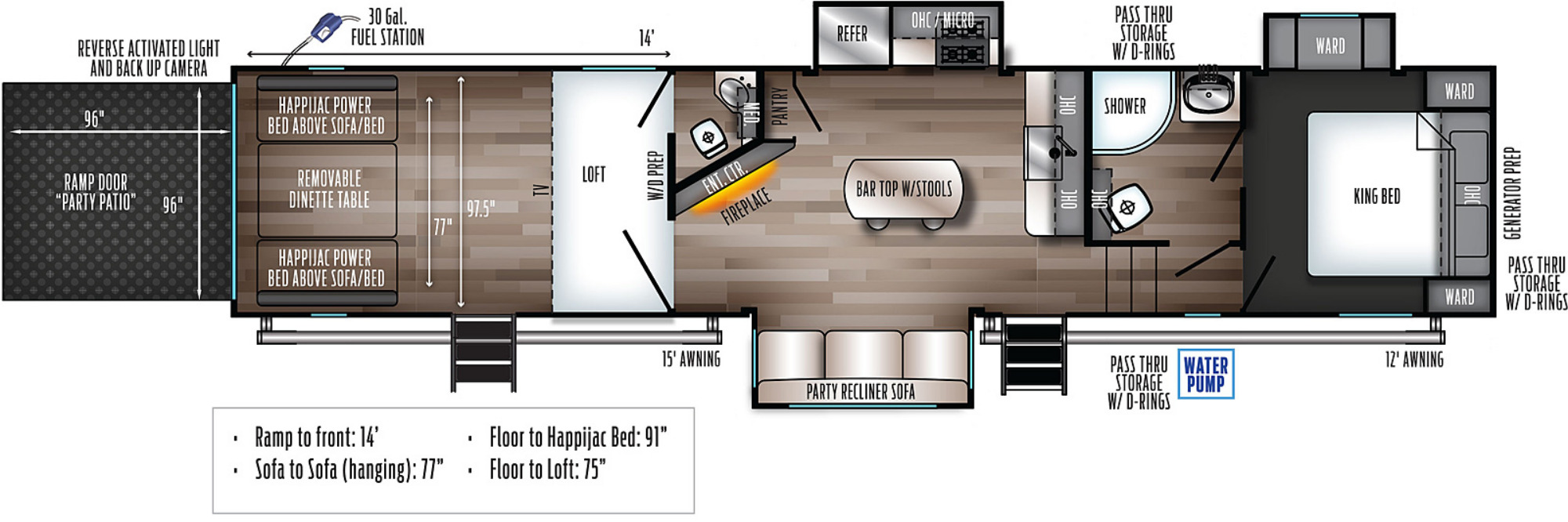 View Floor Plan for 2021 FOREST RIVER WOLF PACK 355PACK14