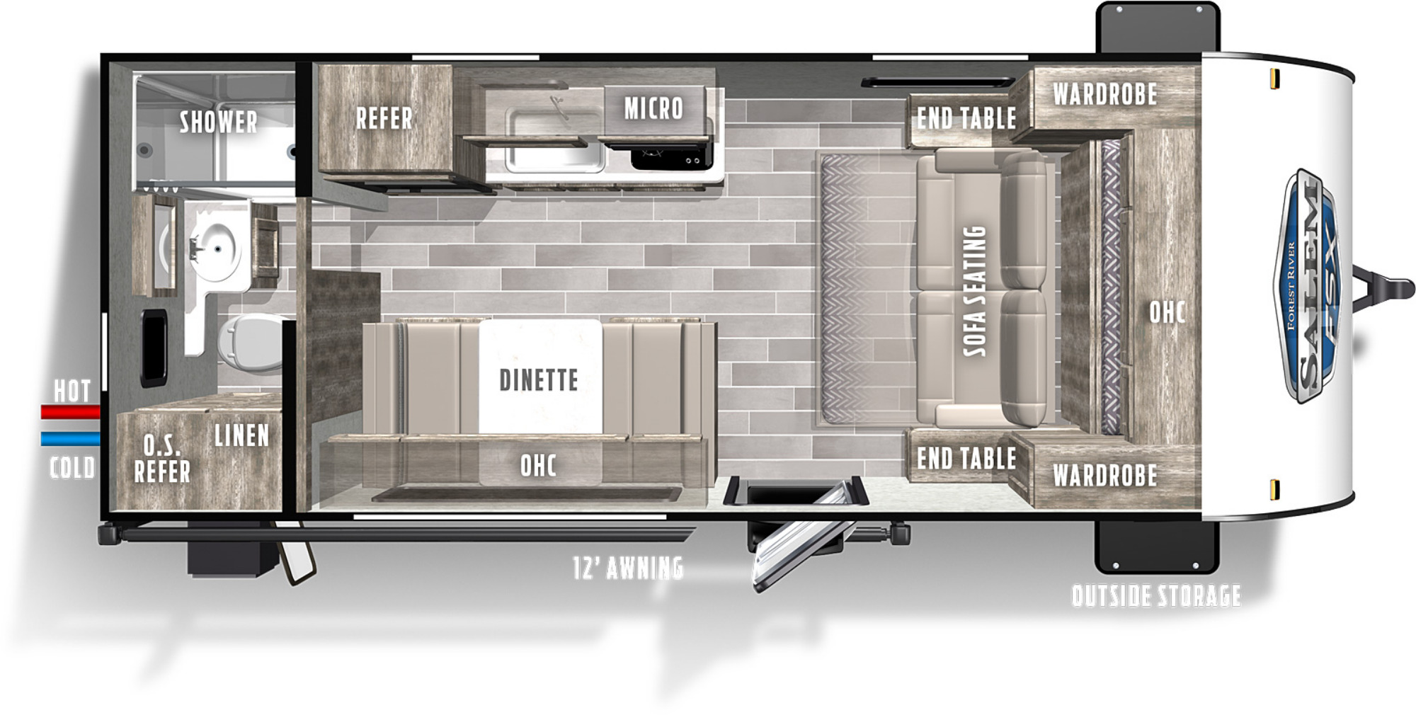 View Floor Plan for 2021 FOREST RIVER SALEM FSX 167RBW