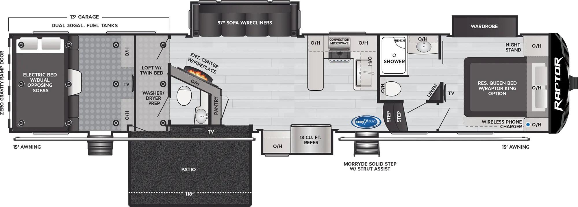 View Floor Plan for 2022 KEYSTONE RAPTOR 429