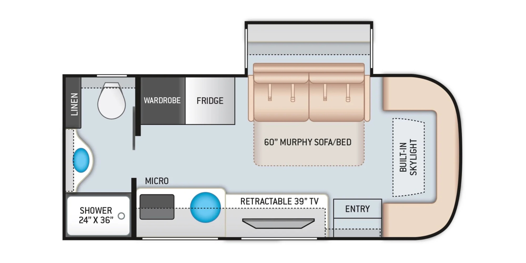 View Floor Plan for 2022 THOR COMPASS 23TE