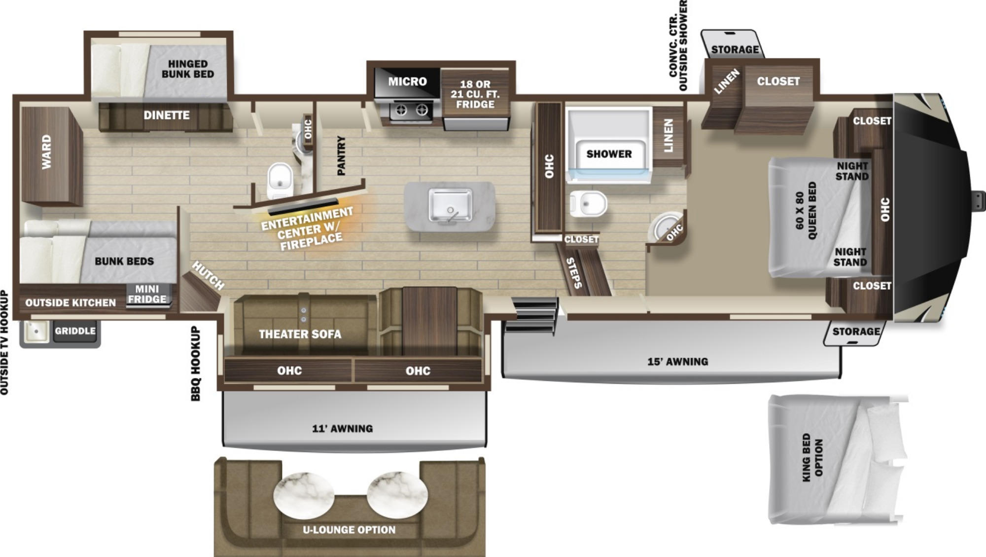 View Floor Plan for 2021 HIGHLAND RIDGE OPEN RANGE 374BHS
