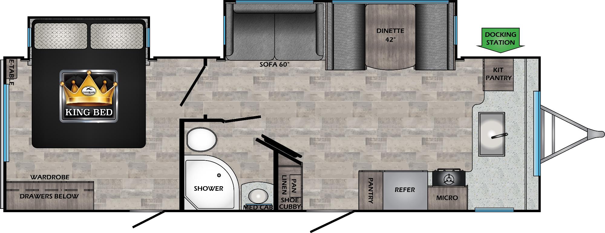 View Floor Plan for 2021 CROSSROADS SUNSET TRAIL 269FK