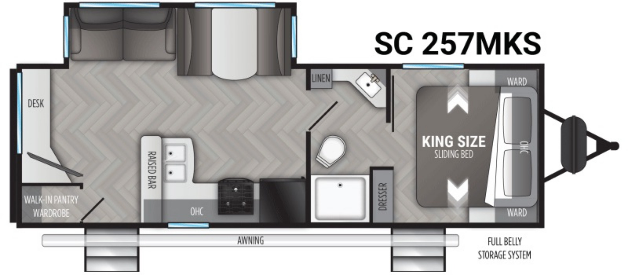 View Floor Plan for 2021 CRUISER RV SHADOW CRUISER 257MKS