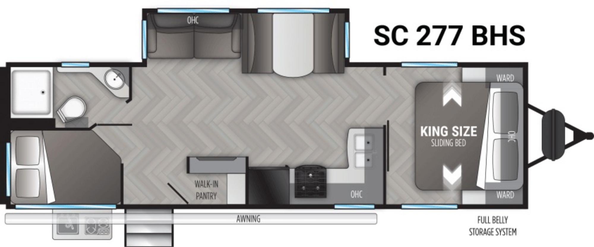 View Floor Plan for 2021 CRUISER RV SHADOW CRUISER 277BHS