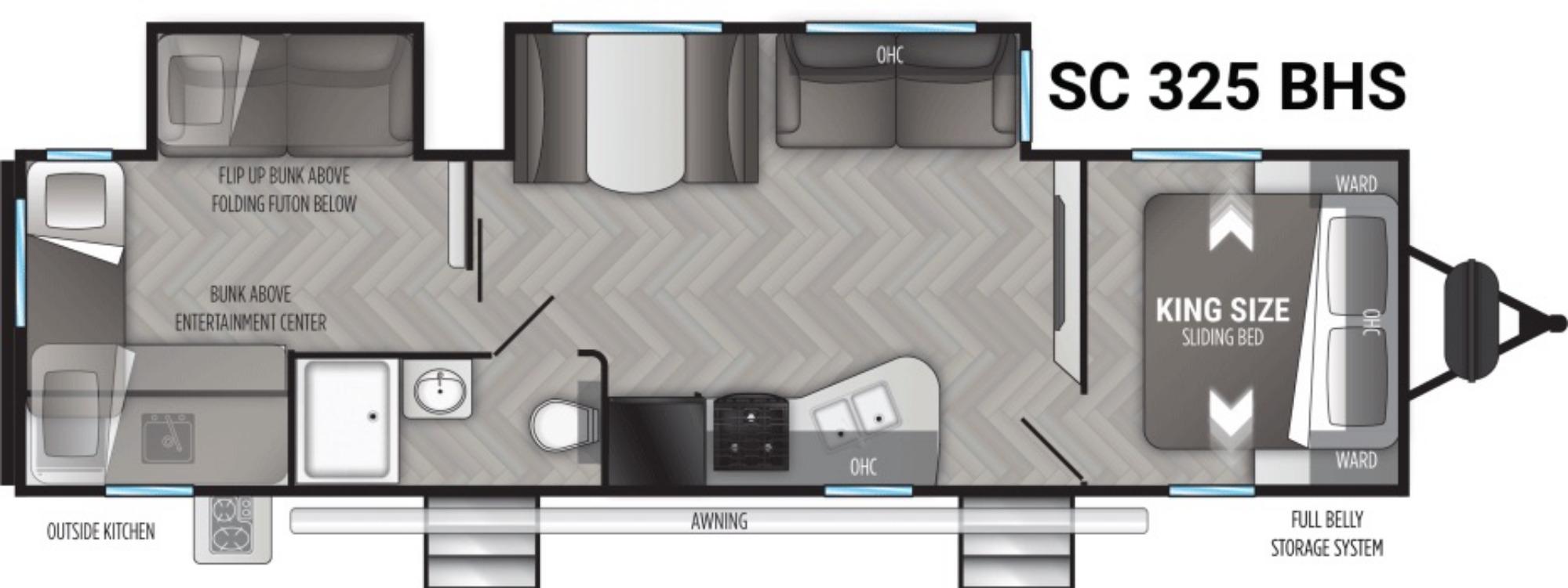 View Floor Plan for 2021 CRUISER RV SHADOW CRUISER 325BHS